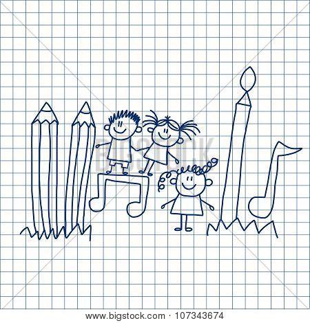 Vector image of happy school children.
