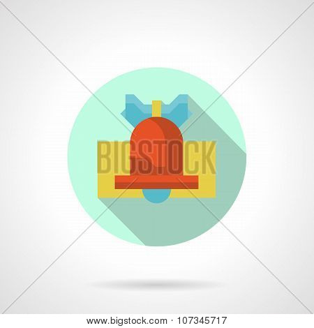Red handbell round flat vector icon