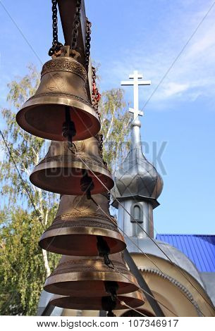 New Bells On The Background Of The Chapel In Penza, Russia