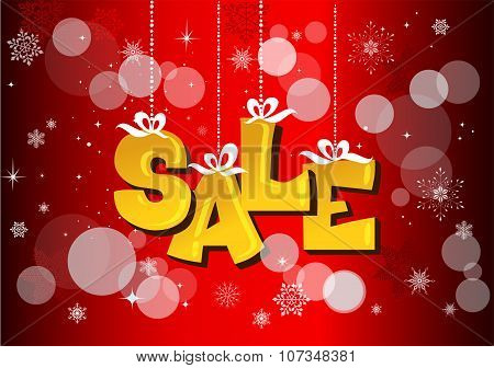 Christmas sale label with ribbons
