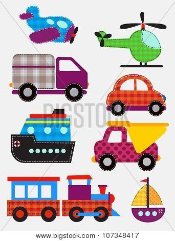 Set of transport toys