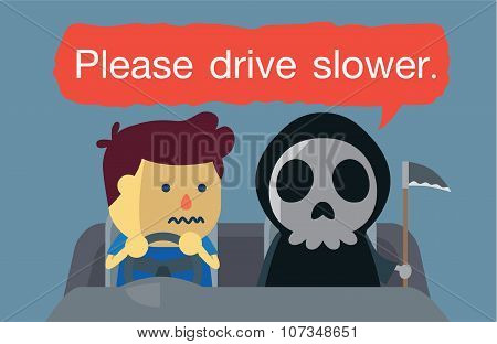 Driving warning from angel of death