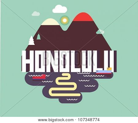 Honolulu city travel destination in USA. vector cartoon,