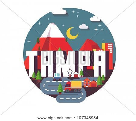 Tampa city travel destination in USA. vector cartoon,