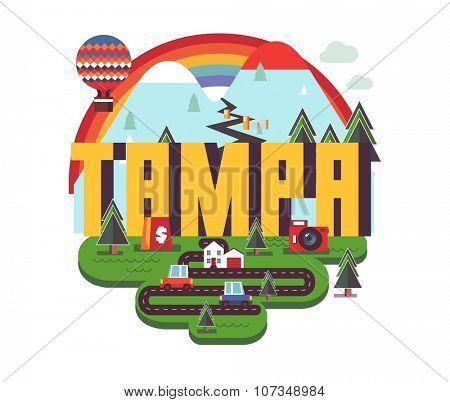 Tampa city travel destination in USA. vector cartoon,