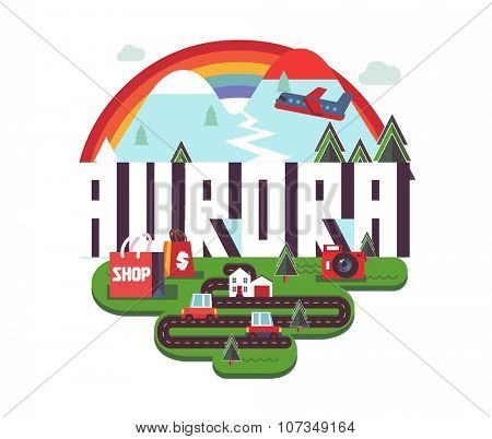 Aurora city travel destination in USA. vector cartoon,