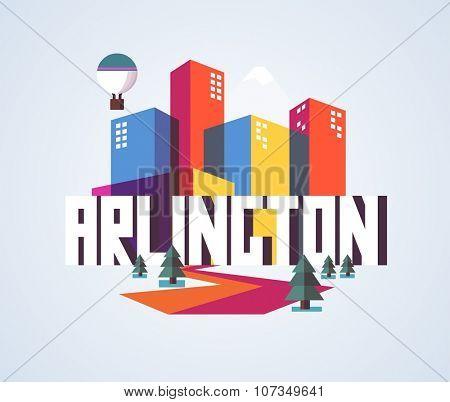 Arlington city travel destination in USA. vector cartoon,