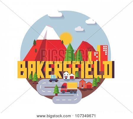 Bakersfield city travel destination in USA. vector cartoon,