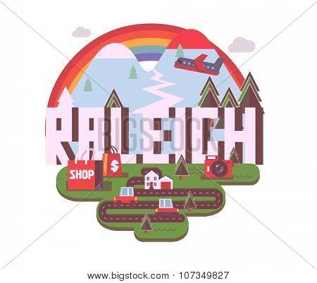 Raleigh destination brand logo. vector cartoon