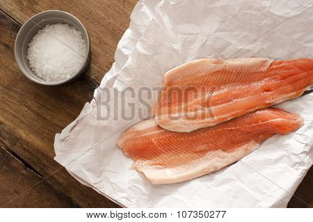 Two Raw Rainbow Trout Fillets