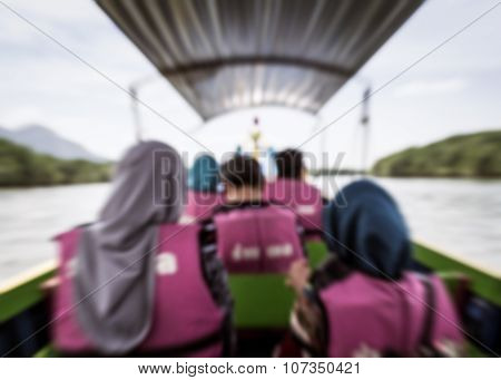 Blurred Tourist Travel On The Boat