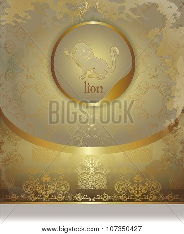 Vintage Golden Leaflet Paper With A Lion Silhouette