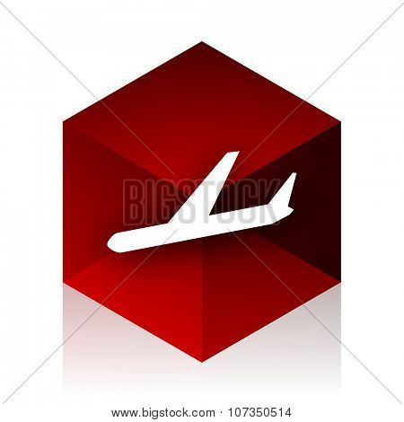 arrivals red cube 3d modern design icon on white background