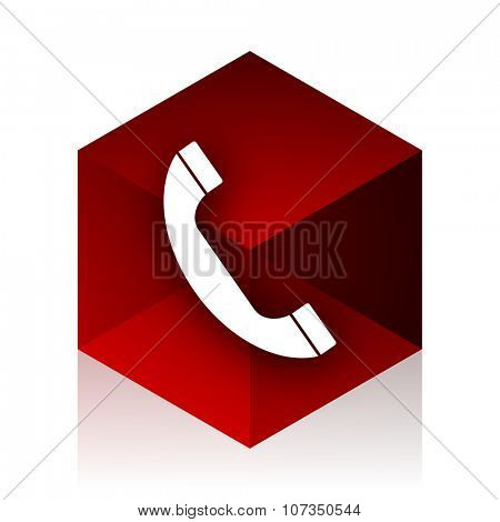 phone red cube 3d modern design icon on white background