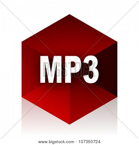mp3 red cube 3d modern design icon on white background