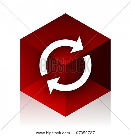 reload red cube 3d modern design icon on white background