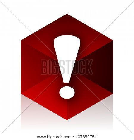 exclamation sign red cube 3d modern design icon on white background