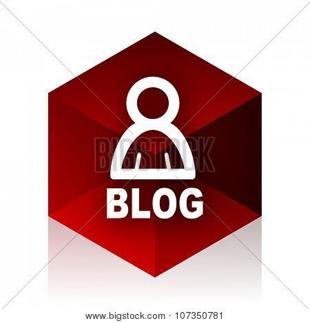 blog red cube 3d modern design icon on white background