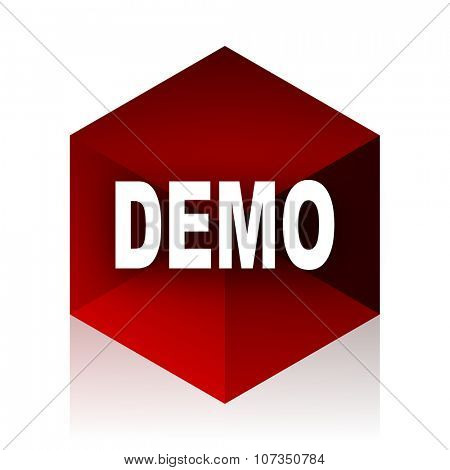 demo red cube 3d modern design icon on white background