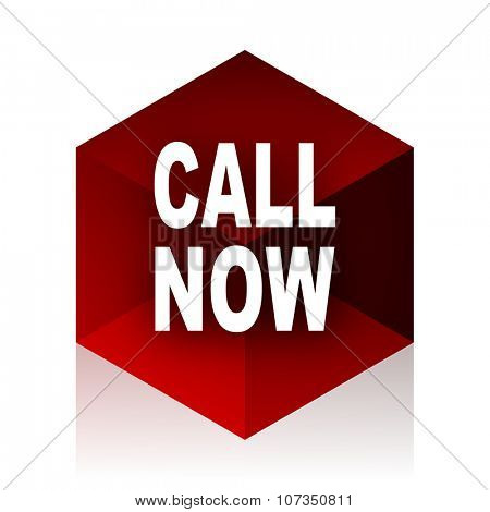 call now red cube 3d modern design icon on white background