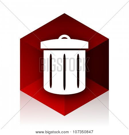 recycle red cube 3d modern design icon on white background