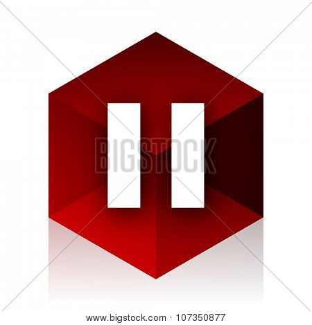 pause red cube 3d modern design icon on white background