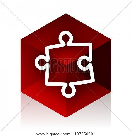 puzzle red cube 3d modern design icon on white background