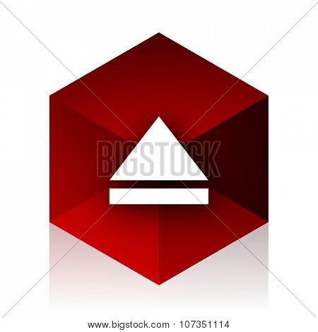 eject red cube 3d modern design icon on white background