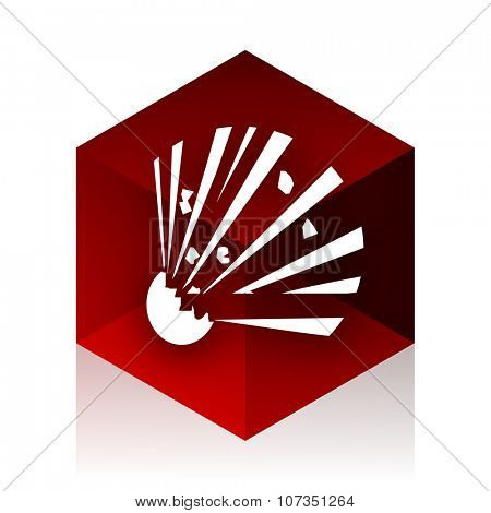 bomb red cube 3d modern design icon on white background