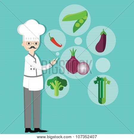 chef character cartoon with hat and vegetables vegetarian ingredients onion, peas, chili, broccoli