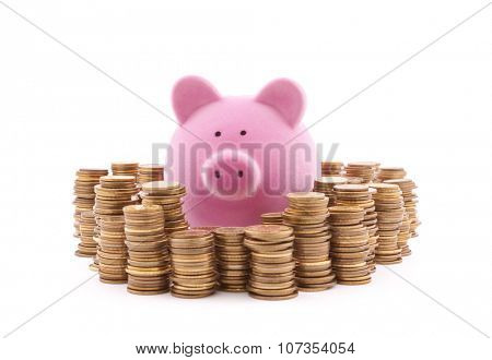 Piggy bank with stacks of coins. Clipping path included.