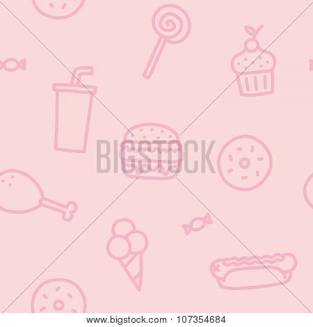 Junk food pink seamless pattern