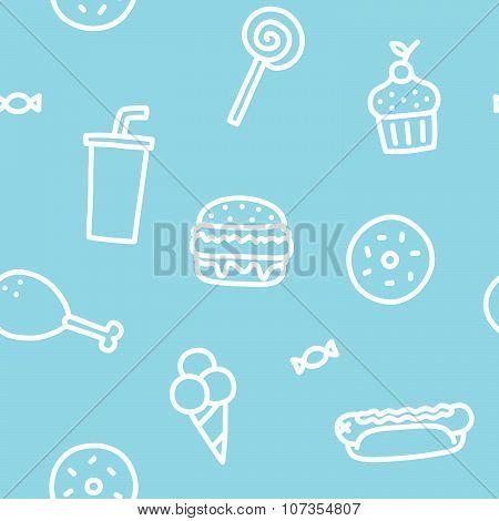 Junk food blue seamless pattern