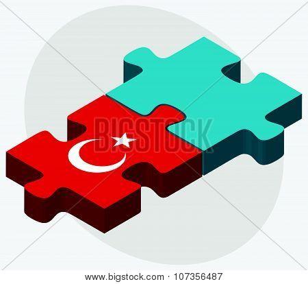 Turkey And Kazakhstan Flags