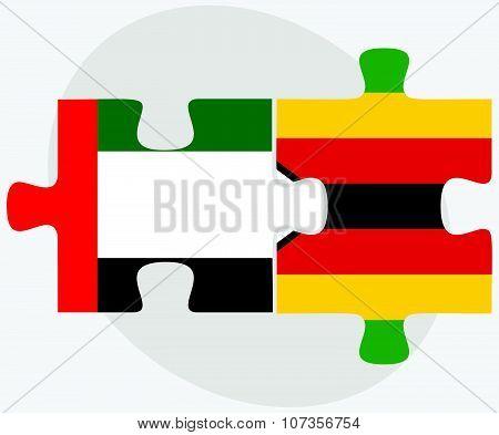United Arab Emirates And Zimbabwe Flags