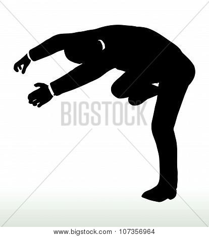 businessman falling on white