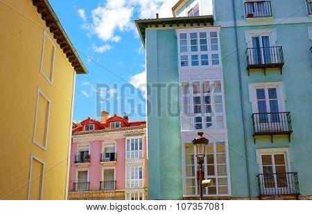Burgos downtown colorful facades in Castilla Leon of Spain