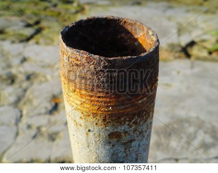 Old Vacant Useless Iron Pipe