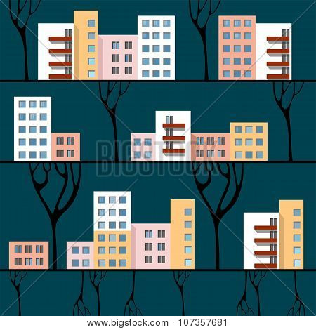 Three Lines With Multi-storey Town Houses. Cityscape.