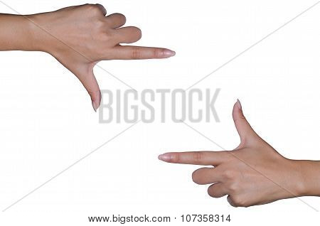 Hand On The Isolated Background.