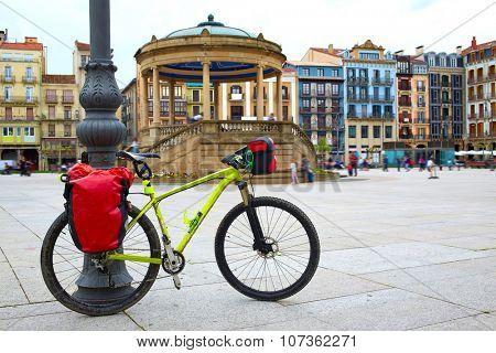 Pamplona Plaza del Castillo Square in Way of Saint James biking