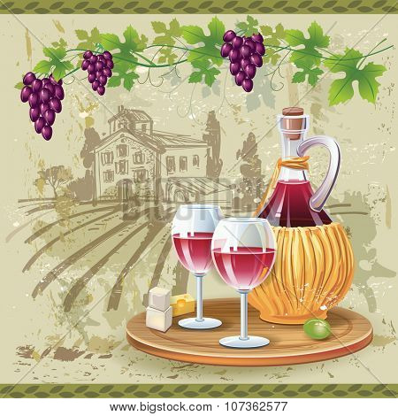 Wine glasses, bottle and grapes in vineyard