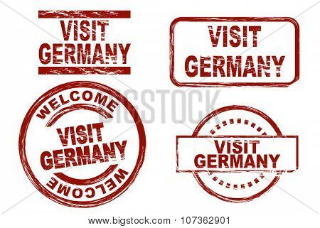 Set of stylized ink stamps showing the term visit germany. All on white background.