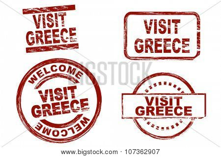 Set of stylized ink stamps showing the term visit greece. All on white background.