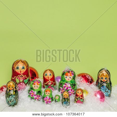 Russian Wooden Dolls With Snow And Christmas Balls