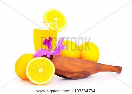 Orange Fruit In White Bowl On White Background