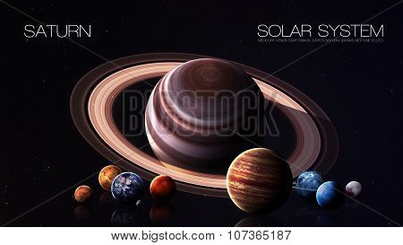 Saturn - 5K resolution Infographic presents one of the solar system planet. This image elements furn