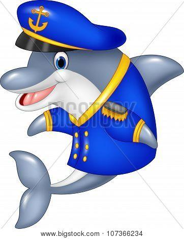 Cartoon funny dolphin wearing captain uniform