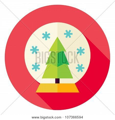 Decorative Snowglobe With Christmas Tree Circle Icon