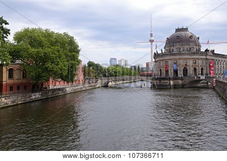 Berlin - July 25: Berlin Cathedral  And Museum Island On Spree River And